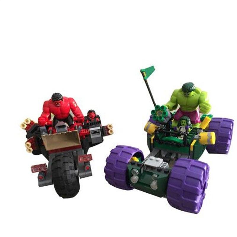 387 pcs MOC Super Hero Hulk Vs Rouge Hulk Équipe Véhicule BRICOLAGE Blocs de Construction Kit Jouet Enfants Cadeaux D'anniversaire