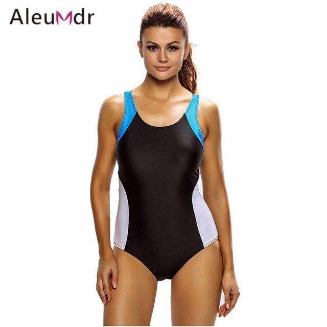 2a20e7167b4f2 Aleumdr Women Swimwear Large Sizes Beach Wear Color Block Racerback One  Piece Swimsuit LC410013 Banadores Tallas