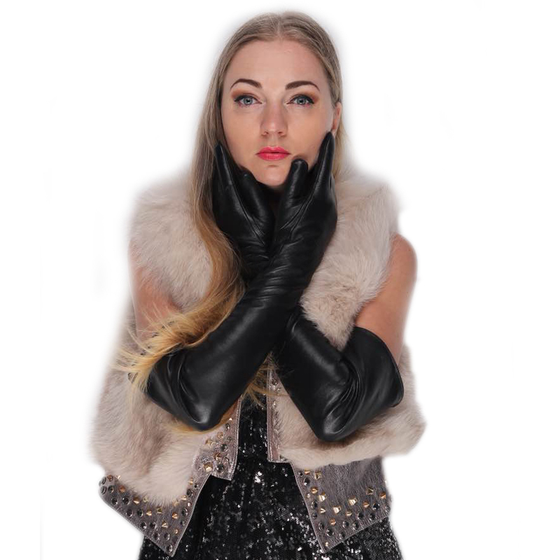 Women Super Long Above Elbow Real Lamb Skin Plain Style Opera Leather Gloves In Black
