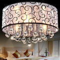 Modern Brief Fabric Shade LED 3 Crystal Chandeliers Lamp AC90-260V Diameter 40cm High 28cm 3*E14 Light Source Free Shipping