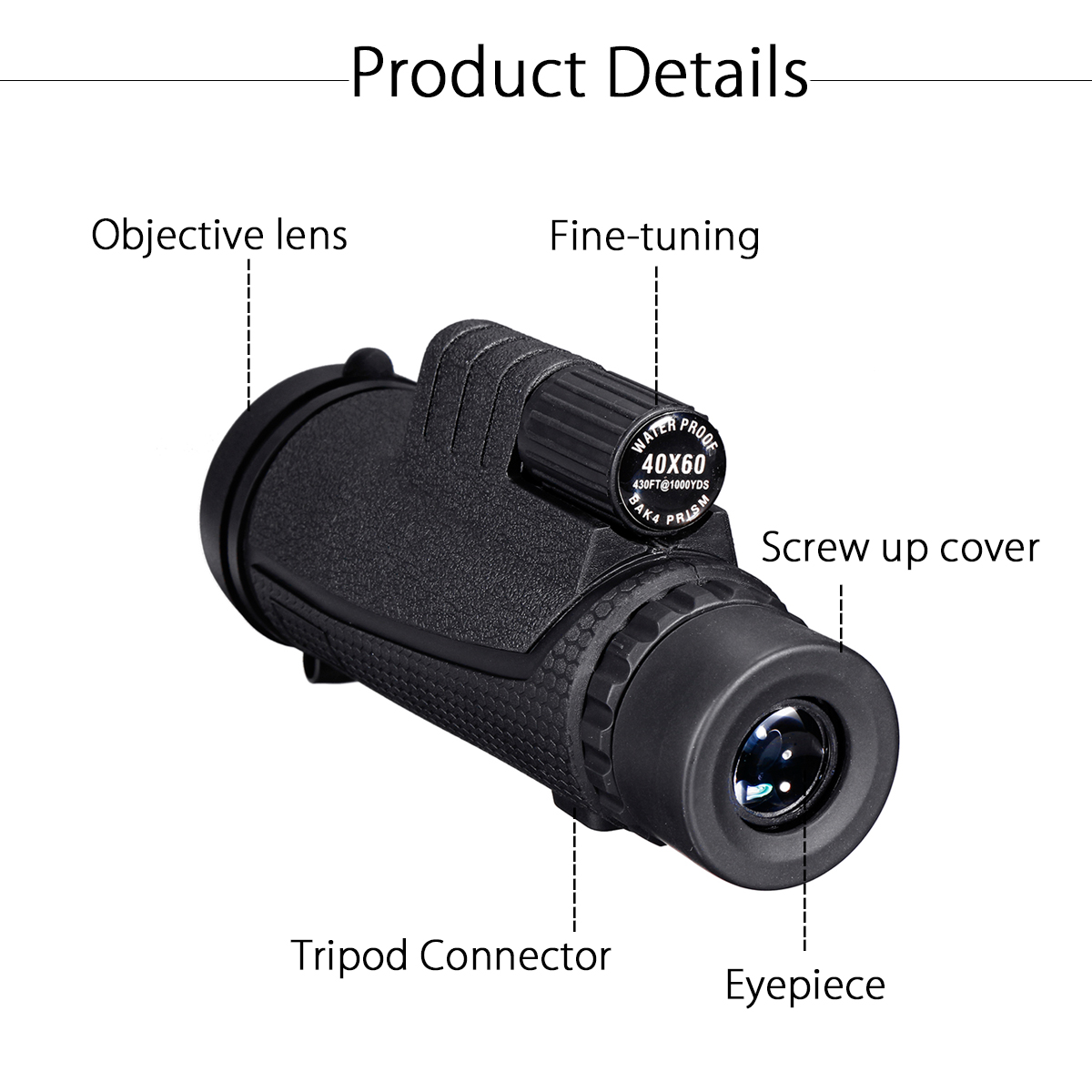 Camera - 40X60 Zoom Optical HD Lens Monocular Telescope + Clip For Universal Phone HD Night Vision with Phone Clip and Tripod