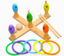 New wooden toy , multi-function fishing game,Ring games,The bowling ball,Educational toys Free shipping designing educational games the 5 10 method