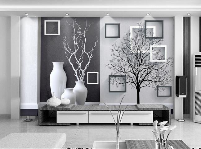 Free shipping 3D wall painting modern black white Art Vase ...