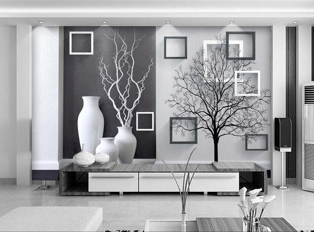 Free shipping 3d wall painting modern black white art vase living room dining room tv backdrop