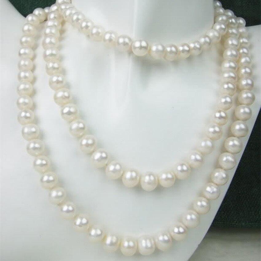 Perles rondes de culture d'eau douce blanche 8-9mm perles naturelles classiques collier à faire soi-même 51 pouces AAA BV338