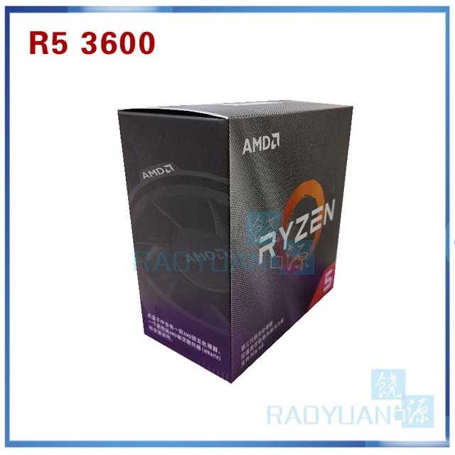 AMD Ryzen 5 3600 R5 3600 3,6 GHz, procesador de CPU de seis núcleos de 12 hilos, 7NM 65W L3 = 32M 100 000000031 Socket AM4 con ventilador de refrigeración