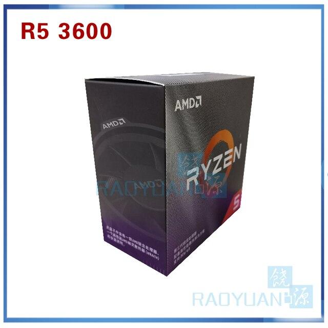 معالج لوحدة المعالجة المركزية AMD Ryzen 5 3600 R5 3600 3.6 GHz ستة النواة اثني عشر خيط 7NM 65W L3 = 32M 100 000000031 مقبس AM4 مع مروحة تبريد