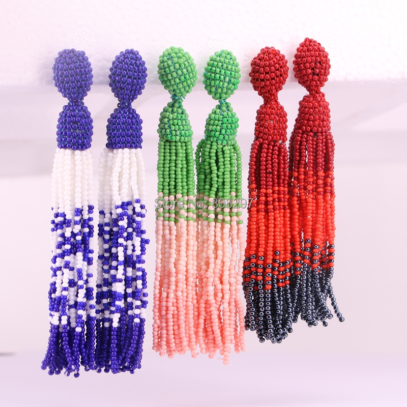 5Pair Handmade Tassel Dangle Earring braided Seed Beads Tassel Earrings Boho Style Women Jewelry Drop Earrings