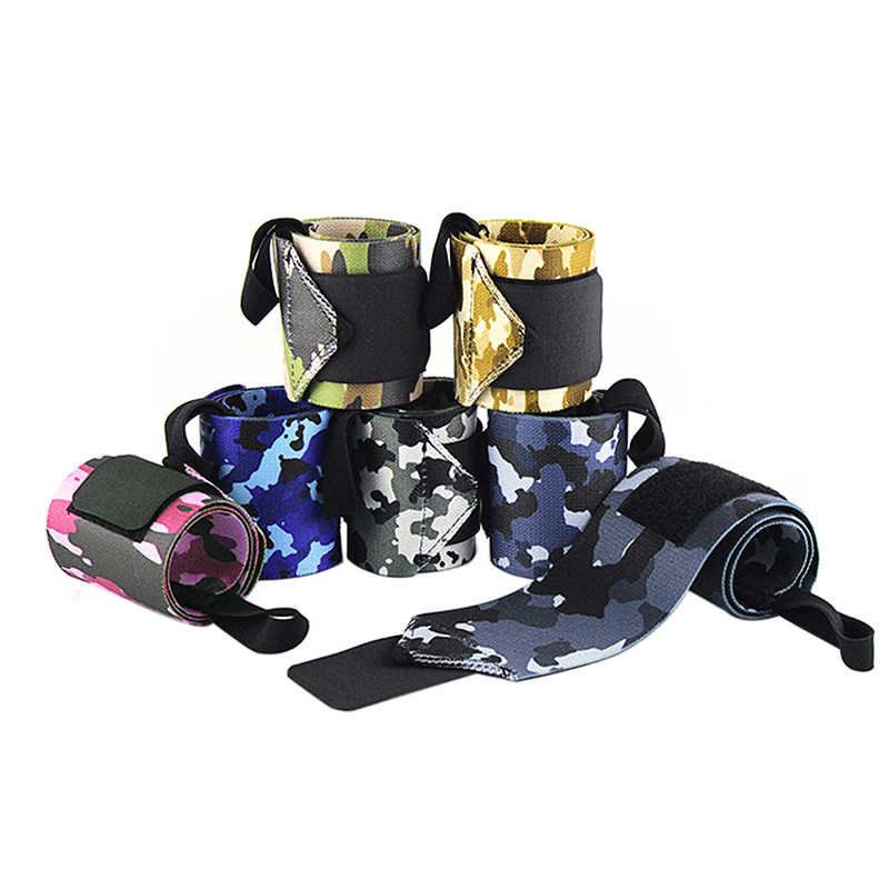 1 Pair Camo Nylon Wrist Wrap Bracer Elasticity Weightlifting Fitness Crossfit Wrist Support Band Tennis Sports Rock Climbing