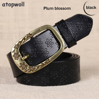 Fashion Retro Style Wide Genuine leather belts for women Vintage Floral Pin buckle Plum blossom/Butterfly Body Trouser Strap vintage engraved floral body chain