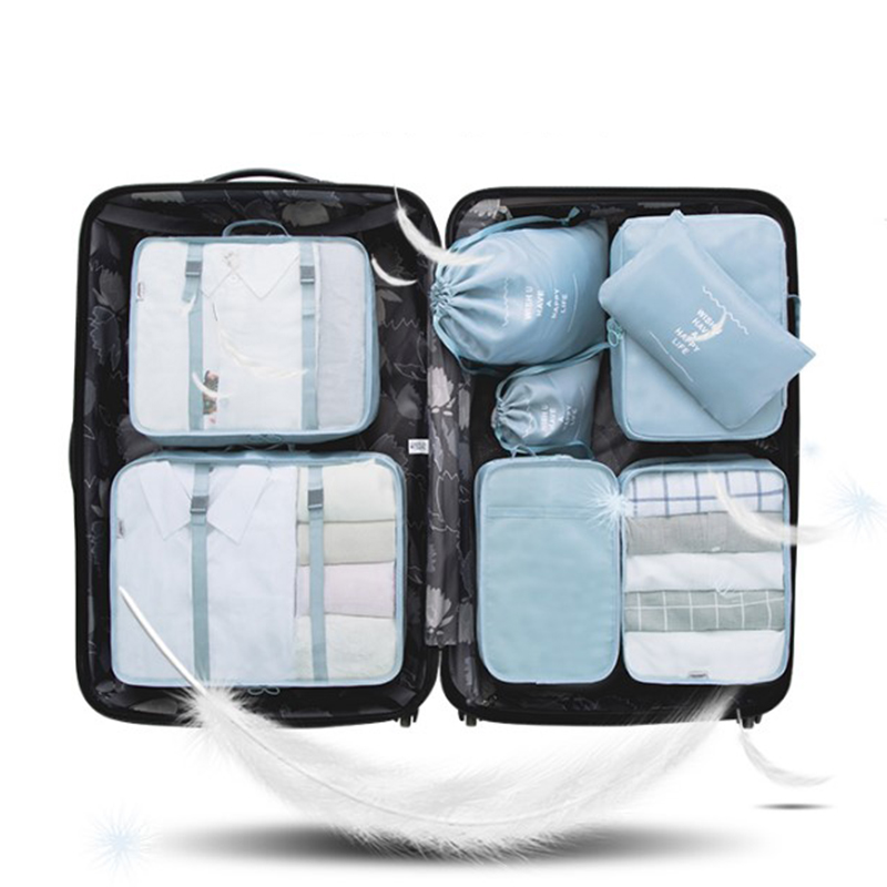 8Pcs/set Polyester Travel Bag High Quality Waterproof Gament Bag Portable Suitcases And Travel Bags Packing Cubes Luggage Bag
