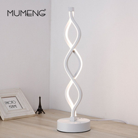 Modern Creative White Double Wave Table Lamp Light AC 100 240V Dimmable Cold White Desk Light For Living Room Bedroom Study Room