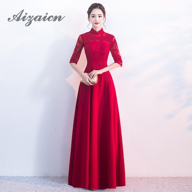 Bride Evening Chinese Wedding Dress Long Qipao Modern Party Dresses Lace Cheongsam Traditional Vestido Oriental Red Qi Pao