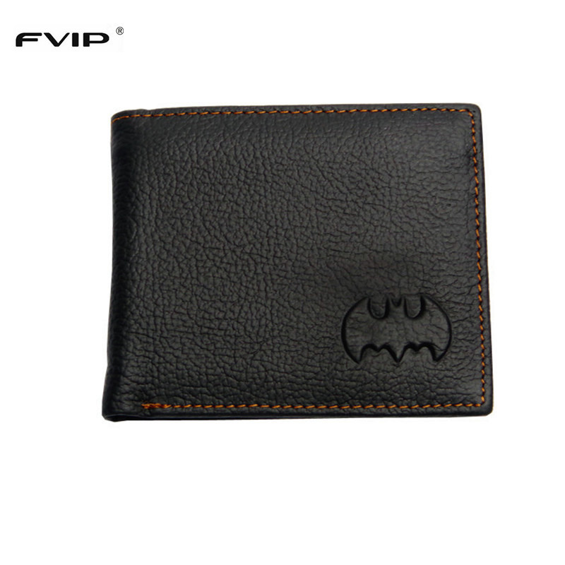 FVIP Free Shipping DC Marvel Wallet Batman Superman Wallets Genuine Leather with Zipper Coin Pocket Dollar Price wallet