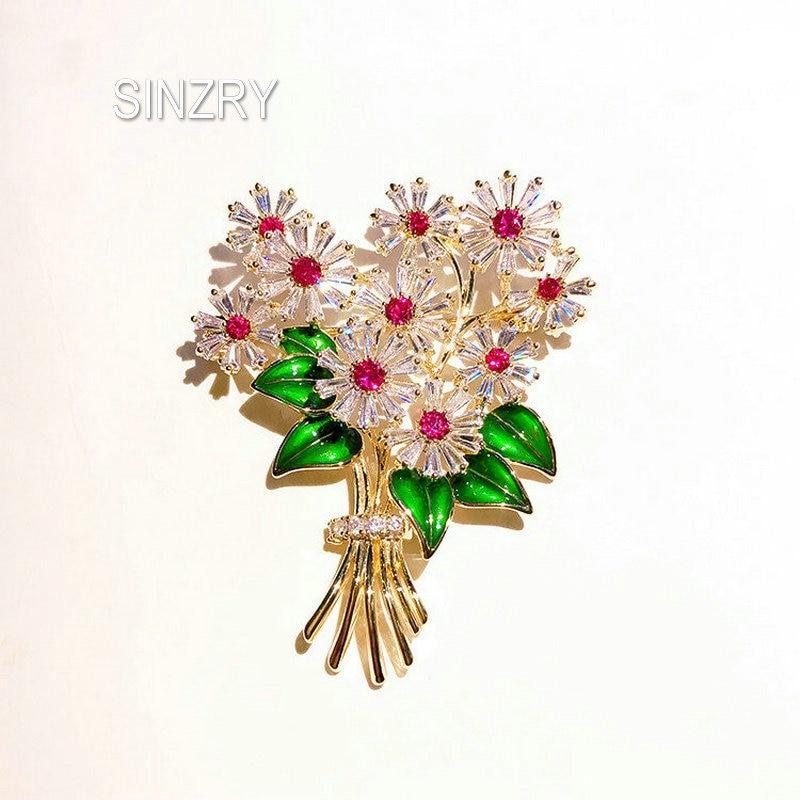 SINZRY Hotsale Cubic Zircon Micro Paved Daisy Flower Brooch Pin Lady Epoxy Suit Jewelry Accessory