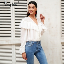Simplee Sexy v neck ruffle white chiffon blouse shirt women Flare sleeve transparent blouse 2018 Spring casual tiered blouse