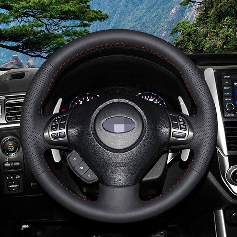 APPDEE Black Artificial Leather Steering Wheel Cover for Subaru Forester 2008-2012 Impreza 2008-2011 Legacy 2008-2010 Exiga 2