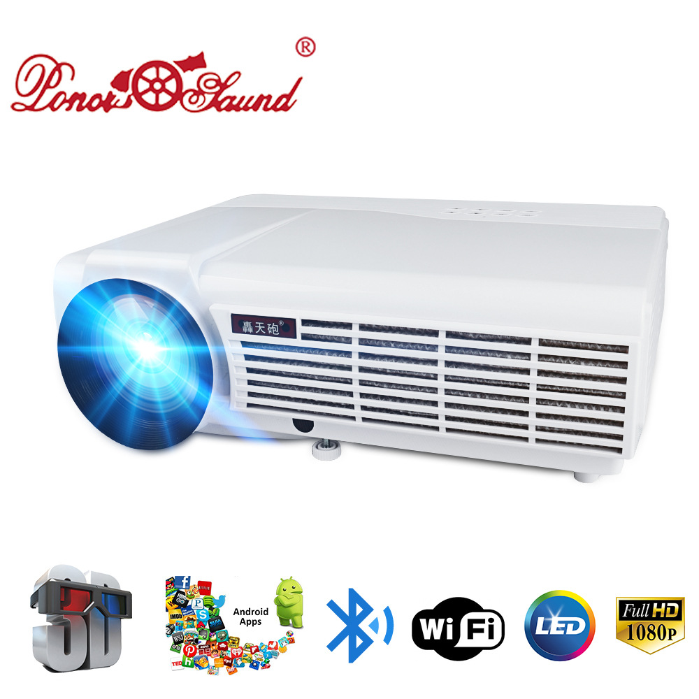 Poner Saund LED 96 Full HD Projector Home Theatre Optional Android 6.0 Bluetooth WIFI Support HD 1080P HDMI USB VGA LCD Beamer все цены