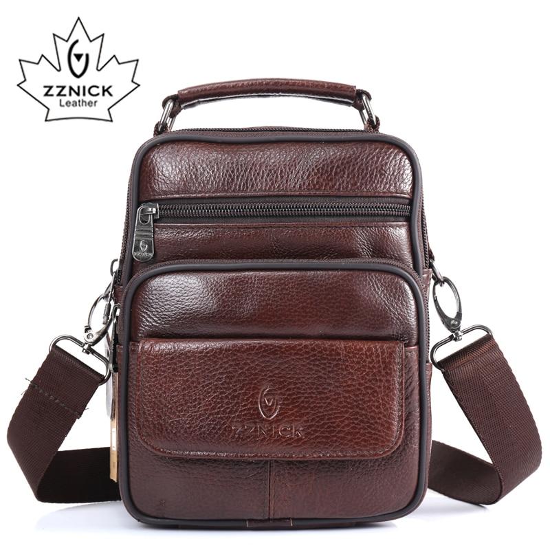 ZZNICK 2017  New Arrival Genuine Leather Bags For Men Shoulder Bag Men's Bag Messenger Bag Portfolio Flap Pocket 8202