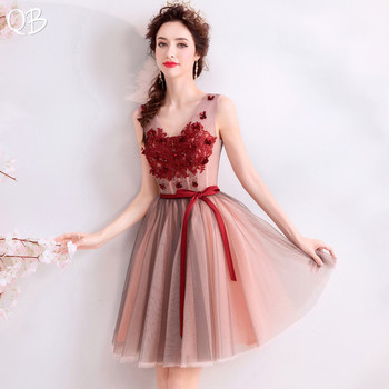 Sexy 2020 New Fashion Short A-line Evening Dresses V-neck Lace Beading Appliques Vintage Prom Party Gowns Formal Dress XK389