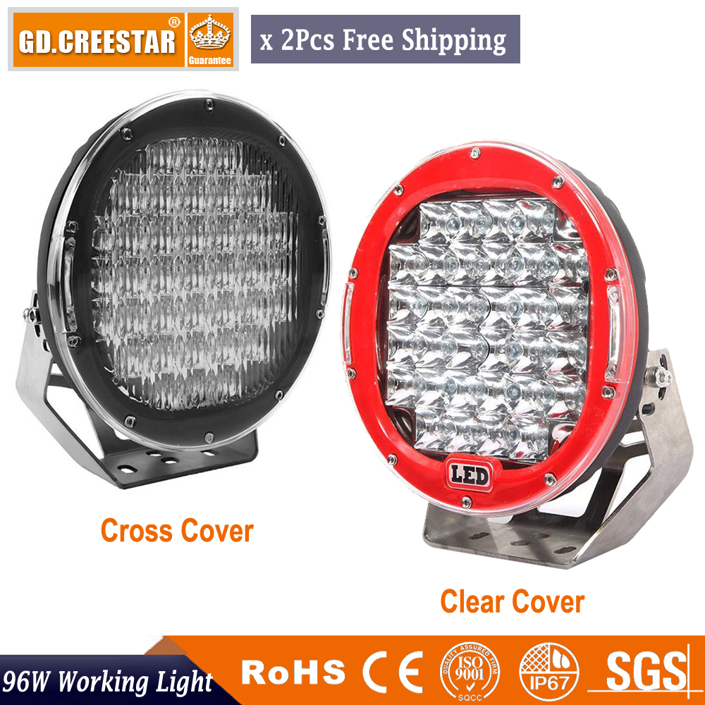 9 inch Off Road 96W With Clear or Mask Cover 9 Round LED Spot Flood Driving Work Light 12v 24v For 4WD UTE Bumper H3 SUV X2PCS 10 50 meters pack 1m per piece led aluminum profile slim 1m with milky diffuse or clear cover for led strips