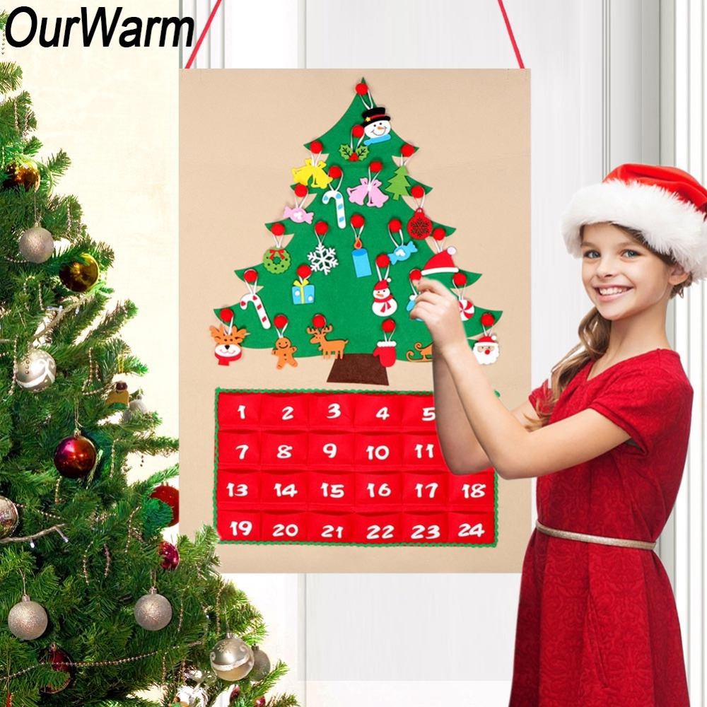 2c25871ad74a ... Wine Bottle Cover Pillow Cover  OurWarm Christmas Tree Countdown  Calendar Date 1 24 DIY Felt Advent Calendar New Year Decor 90cm ...