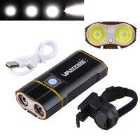 USB Rechargeable Handlebar Headlight 6000LM Front Bike Light 2X XM L2 LED Lamp Built In 6000mAh