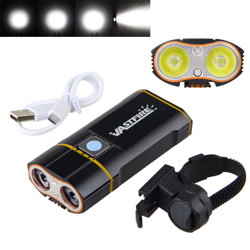 цена на USB Rechargeable Handlebar Headlight 6000LM Front Bike Light 2X XM-L2 LED Lamp Built-in 6000mAh Battery for Cycling