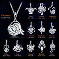 Fashion 12 Constellations Zodiac Shining Crystal Pendant Plated Silver Fine Jewelry Necklaces & Pendants For Women