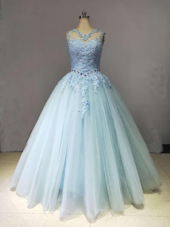 Аппликация o образным вырезом Ленты Кристалл Элегантное свадебное платье ледяного синего цвета платья из тюля на вечер встречи выпускников