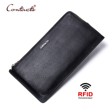 CONTACT'S Men Wallet Genuine Cowhide Leather Male Purses RFID Card Holder Coin Pocket Wallets Trifold Purses 2017 Business Brand