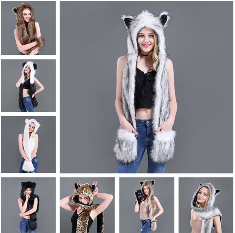1pc/Lot High Quality Precious Faux Fur Hood Animal Hat With Ear Flaps and Hand Pockets 3 in 1 Function