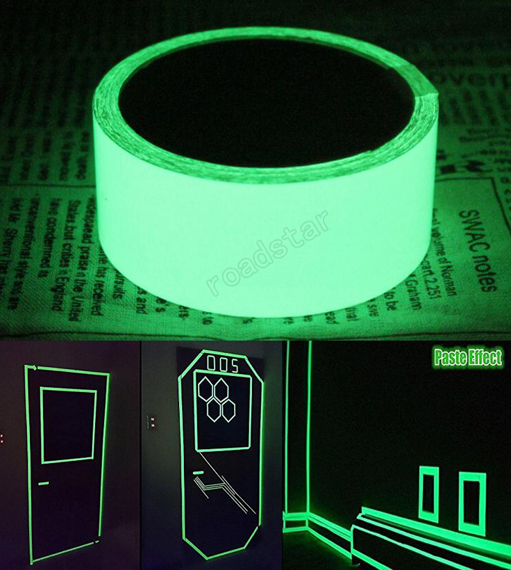 5cmx5m glow in the dark safety stage stickers home decorations self-adhesive warning tape night vision wall sticker hexagon night glow decorative wall sticker