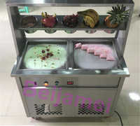 Commercial Double Square Pan Thai Fry Ice Rolling Machine 35*35*2.5cm Fried Ice Cream Roll Maker