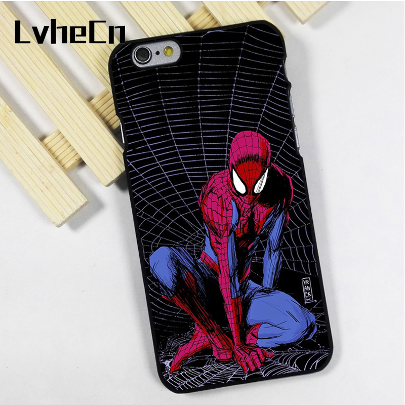 LvheCn phone case cover fit for iPhone 4 4s 5 5s 5c SE 6 6s 7 8 plus X ipod touch 4 5 6 Dc Comics Marvel Avengers Spider man