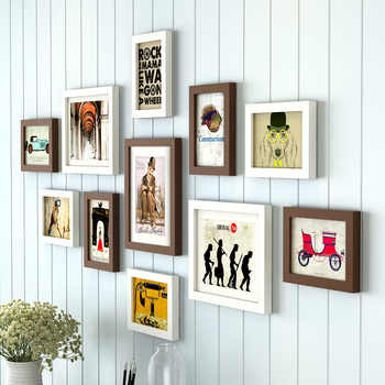 11 Pieces/Set Europe Style Black and White Color Photo Frame with Picture, Cheap Wood Wall Decor Picture Frames Set for Bedroom