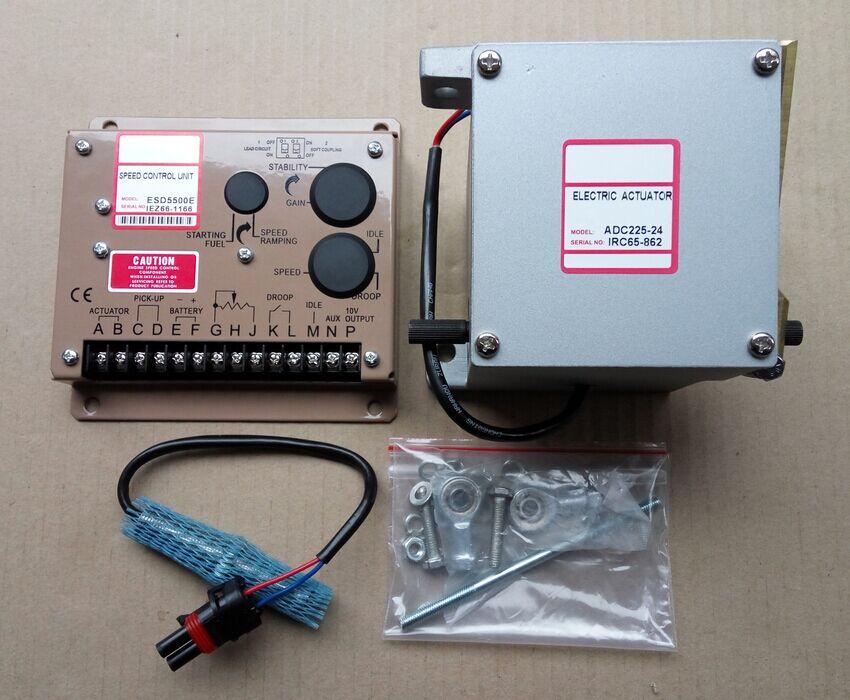 1PCS ADC225-12V or ADC225-24V Generator Actuator ADC225 12V or ADC225 24V + 1PCS speed controller ESD5500E Governor + 3034572 esd5500e series speed governor with generator actuator adc225 12v or 24v adc225 12 and speed sensor 3034572