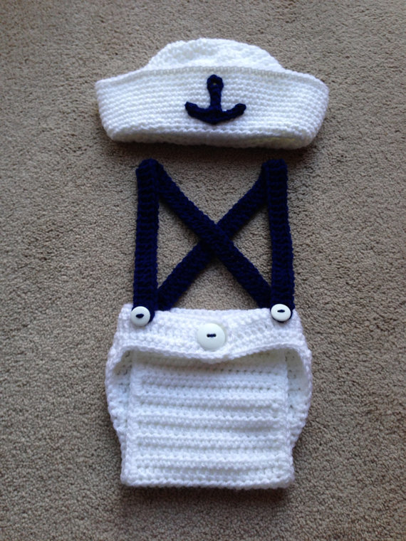 Free shipping cute crochet newborn sailor hat with matching overalls baby sets photography props 100 cotton