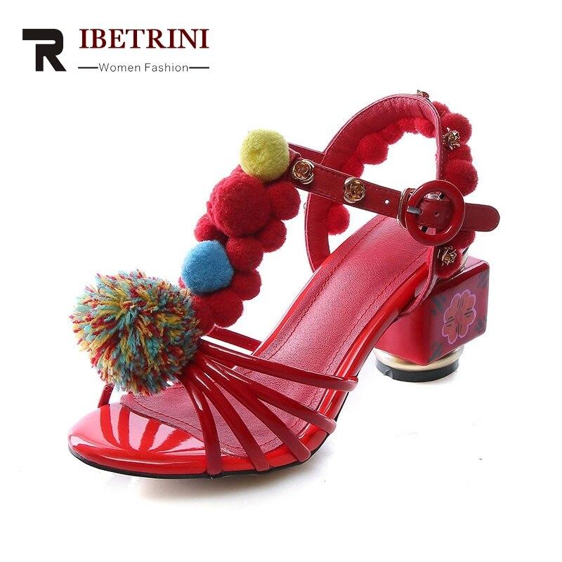 RIBETRINI 2018 Summer New Brand Genuine Leather T-strap Sandals Fashion Ethnic Shoes Woman Strange Heels Big Size 34-43 Shoe