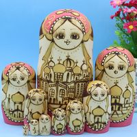10 Layers Handmade Cute Girl Wooden Russian Traditional Matryoshka Doll Toys for Kids Friends Birthday New Year Gifts