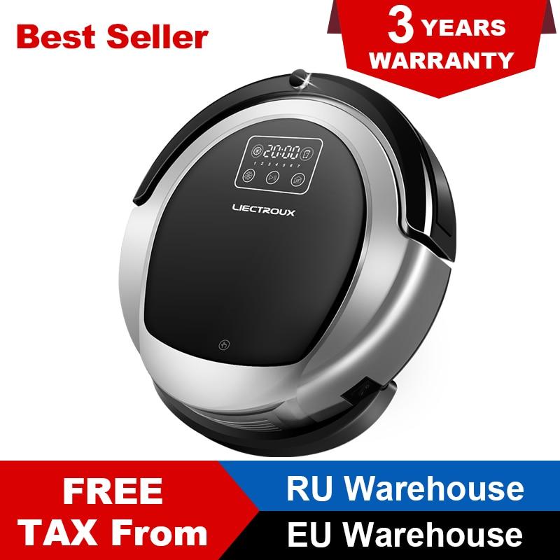 LIECTROUX Robotique aspirateur B6009, 2D Carte & Gyroscope Navigation, avec Mémoire, Faible Répétition, Virtuel Bloqueur, lampe uv, balai mouillé