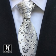 Luxury formal tie 8cm width traditional necktie silver with florals gravata