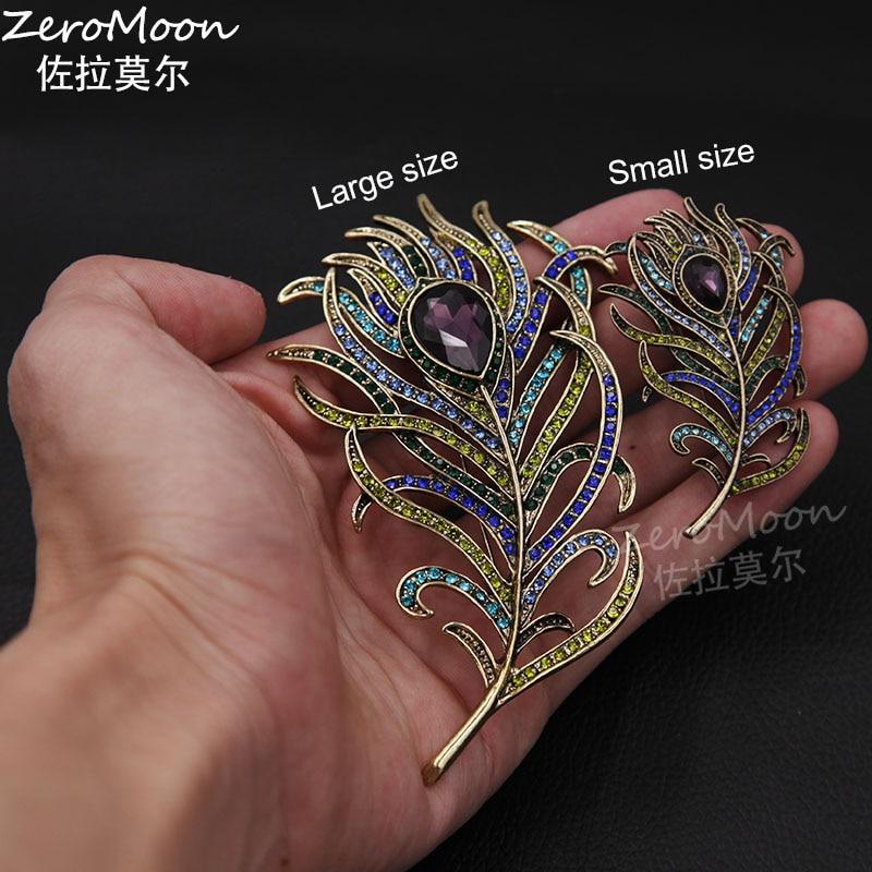 Romantisk fjäderbrosch Animal Pin Antik guld Crystal Rhinestone - Märkessmycken - Foto 4