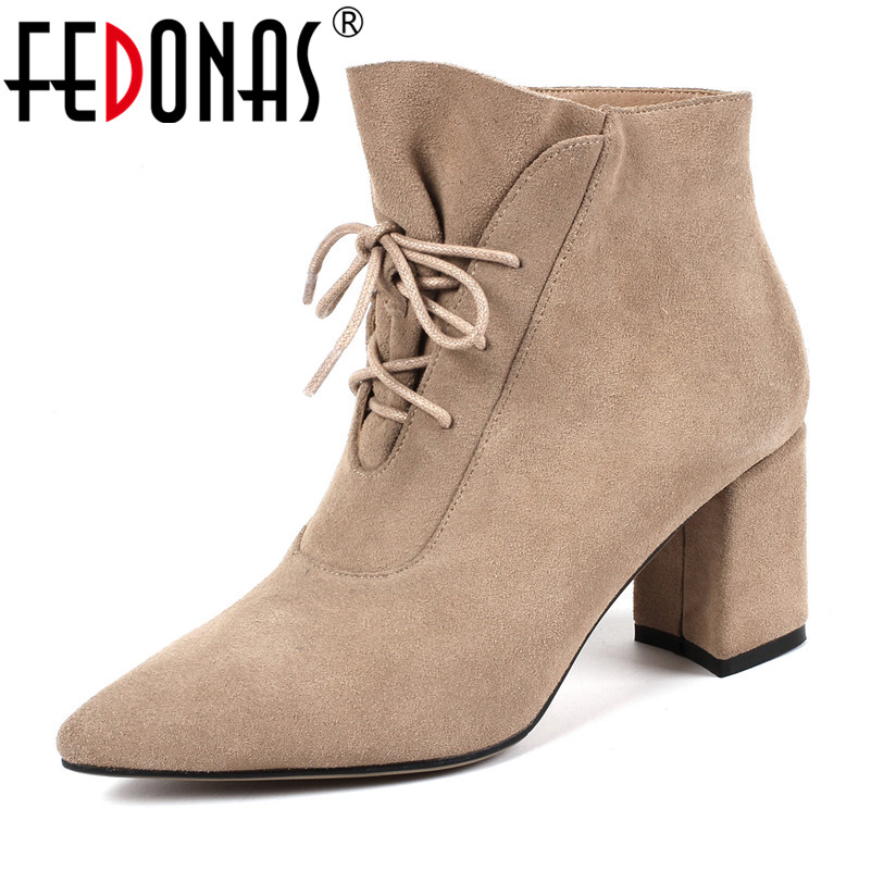 FEDONAS New Women Cow Suede Ankle Boots Sexy High Heeled Cross-tied Autumn Winter Shoes Woman Fashion Elegant Office Pumps цена 2017