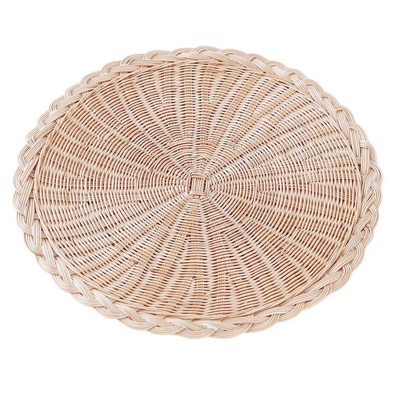 Mantel tejido hecho a mano Placa de comida con aislamiento térmico almohadilla taza posavasos alfombrilla accesorios de cocina