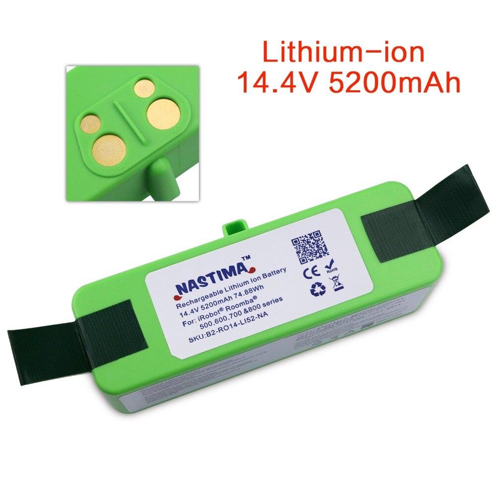 NASTIMA 5.2Ah 14.4 V Bateria De Lítio Para Aspirador iRobot Roomba 500, 600, 700, 800, 980 Séries com [UL & CE Certificado]