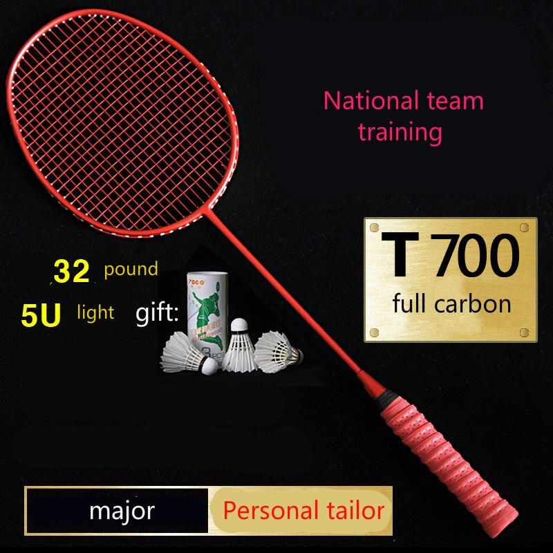Raquette de badminton plein de carbone super léger 5u équipe attaque type smash seul coup haute livres de fiber de carbone raquette