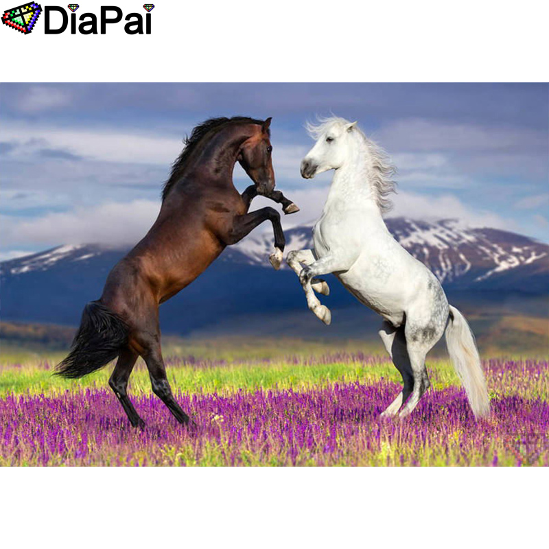 DIAPAI 100 Full Square Round Drill 5D DIY Diamond Painting quot Animal horse quot Diamond Embroidery Cross Stitch 3D Decor A18505 in Diamond Painting Cross Stitch from Home amp Garden
