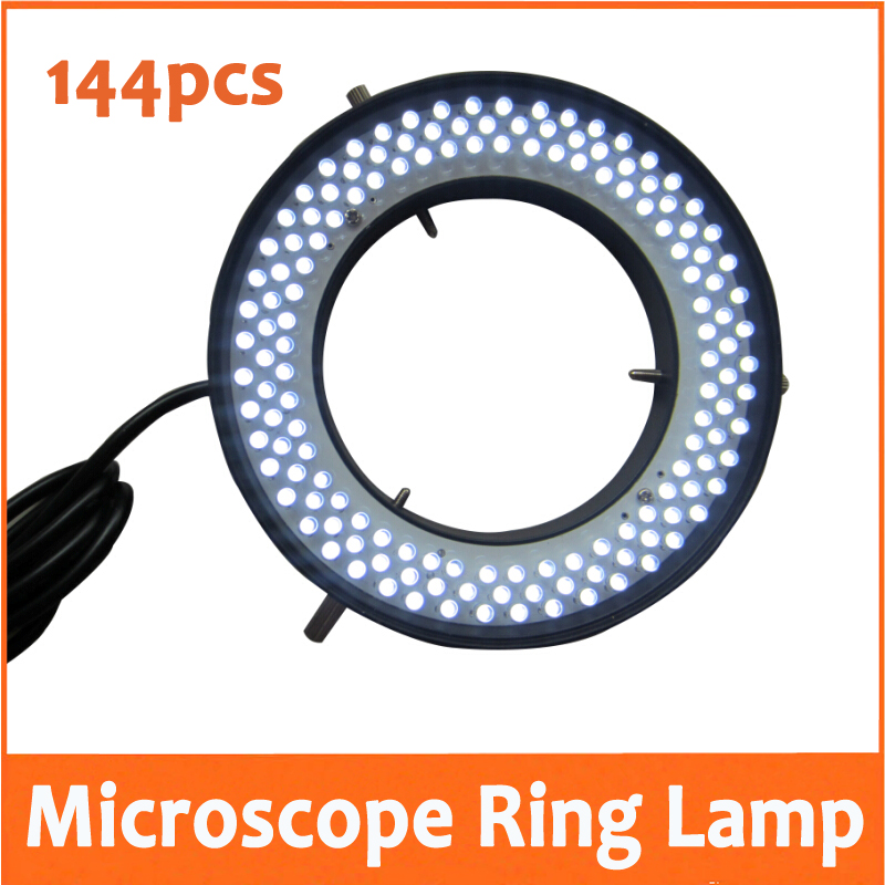 144pcs White Light LED Adjustable Ring Lamp Illuminated Ring Bulb for Stereo Microscope 90V-220V with Inner Diameter 72mm yellow light 156pcs led adjustable zoom lamp ring lamp 8w 90v 264v 81mm inner diameter for medical stereo biological microscope