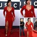 Demi Lovato Red Carpet Dress Sexy profundo decote em V bainha Natural cintura alta dividir andar de comprimento cetim vestidos de celebridades